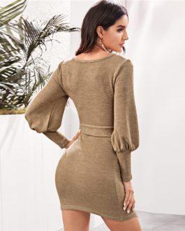 Scoop Neck Streetwear Bishop Sleeve Bodycon Sweater Dress With Belt