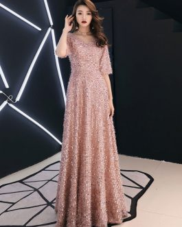 Sequin V Neck Formal Evening Maxi Dresses