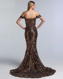Sequined Sleeveless Mermaid Sexy Prom Dress
