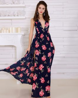 Sexy Backless Print High Split Maxi Dress