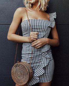 Sexy Plaid Off Shoulder Mini Dress