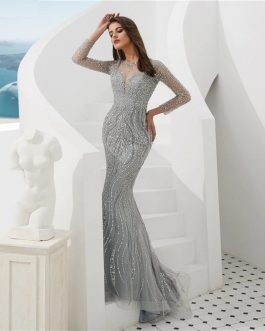 Sexy Sheer Long Sleeve Crystal Beaded Mermaid Evening Dress