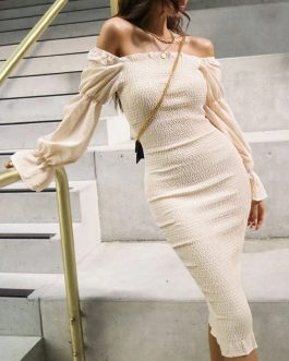 Sexy Streetwear Off Shoulder Knitted Party Dress
