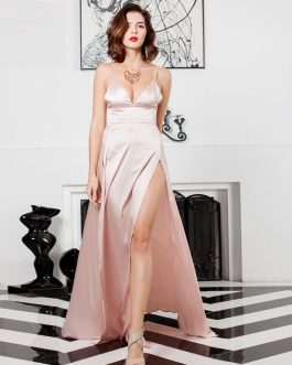 Sexy V-Neck Backless Two Split Maxi Dress
