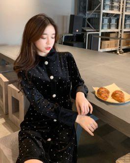 Single Breasted Long Sleeve Diamond Velvet Dress