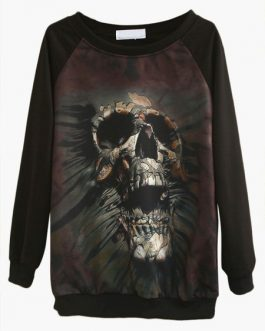 Skull Pattern Scoop neck Long Sleeve Casual Sweatshirt