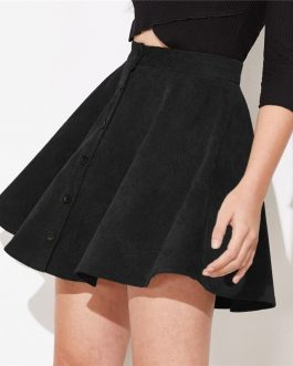 Solid Button Front Streetwear Casual Short Flared Skirt