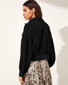 Solid Drop Shoulder Single Breasted Corduroy Street wear Jacket