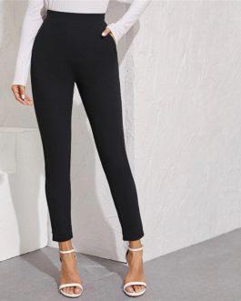 Solid Elastic Waist Pocket Side Split Hem Elegant Pants
