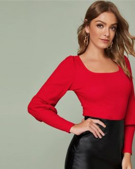 Solid Leg-of-mutton Sleeve Office Ladies Slim Fitted T-shirts