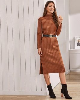 Solid Ribbed knit Long Sleeve Casual Sweater Dress