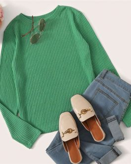 Solid Round Neck Ribbed Knit Office Ladies Casual T-Shirt