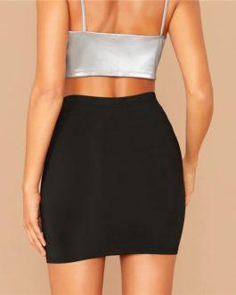 Solid Stretchy High Waist Elegant Mini Bodycon Skirts