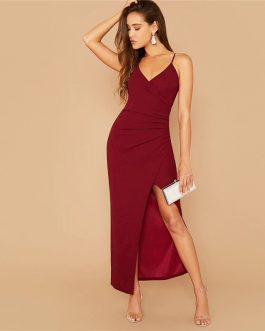 Spaghetti Strap Sexy Side Split Night Out Party Maxi Dress