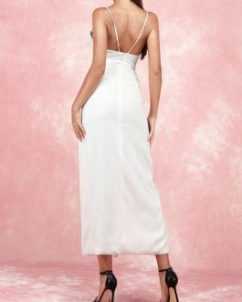 Straps Neck Split Front Sleeveless Layered Semi Formal Party Dresses