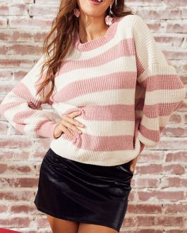 Stripes Jewel Neck Long Sleeves Acrylic Pullover Sweater