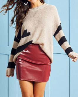 Stripes Jewel Neck Long Sleeves Acrylic Pullovers Sweaters