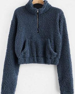 Teddy Bear Pullover Half Zip Long Sleeves Cotton Hooded Sweatshirt