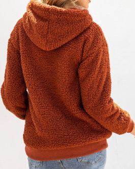 Teddy Hoodie Long Sleeves Pockets Hooded Sweatshirt