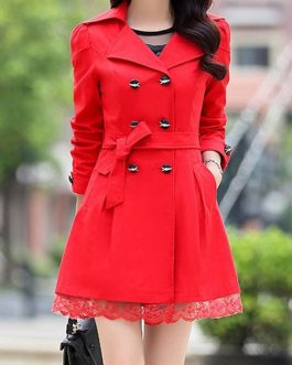 Trench Coat Double Breasted Lace Ruffle Fit Peacoat With Sash