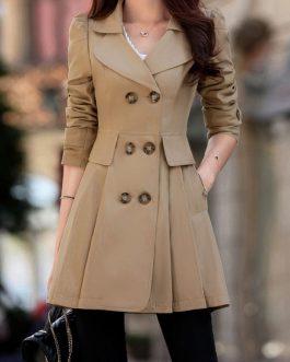 Trench Coat Flared Long Sleeve Double Breasted Rain Coat
