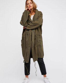 Trench Coat Hooded Long Sleeve Drawstring Military Jacket