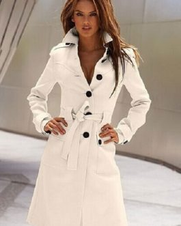 Trench Coat Long Sleeve Front Button Overcoat