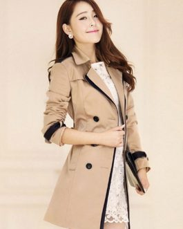 Trench Coat Long Sleeve Sash Double Breasted Rain Coat