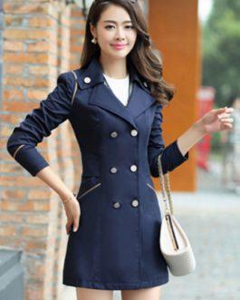 Trench Coat Long Sleeve Turndown Collar Slim Fit Pea Coat