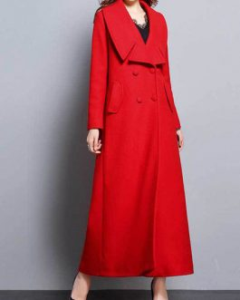 Turndown Collar Buttons Casual Oversized Outerwear Maxi Coat