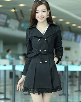Turndown Collar Cotton Blend Dress Coat