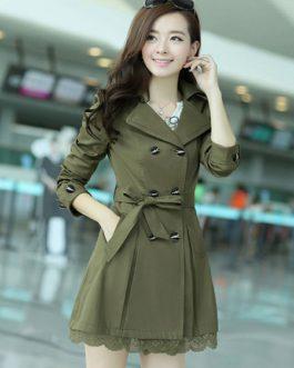 Turndown Collar Cotton Blend Dress Coat