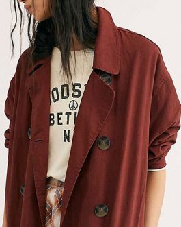 Turndown Collar Long Sleeves Buttons Bohemian Wrap Coat