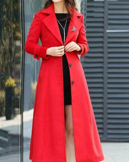 Turndown Collar Long Sleeves Buttons Oversized Casual Outerwear Wrap Coat