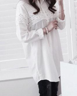 Turndown Collar Long Sleeves Cotton Shirt Dresses
