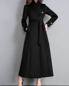 Turndown Collar Long Sleeves Lace Up Oversized Casual Woolen Coat
