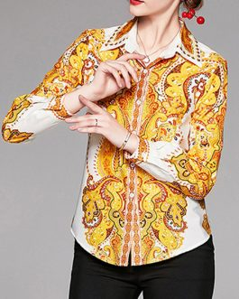 Turndown Collar Retro Geometric Blouse