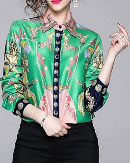 Turndown Collar Stretch Floral Print Buttons Long Sleeves Tops