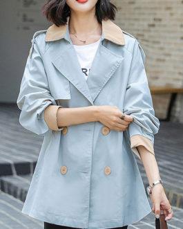 Turndown Collar Zipper Casual Coat