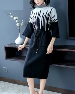 Elegant  Turtleneck Sweater knitting Party Dress