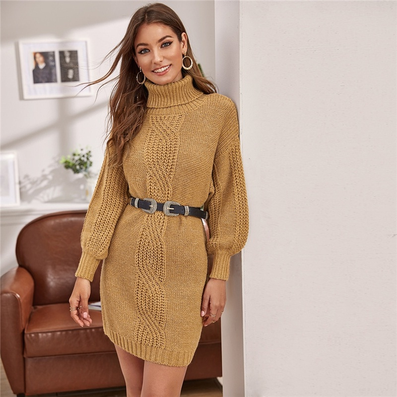 Turtleneck Without Belt Lantern Sleeve Short Sweater Dress