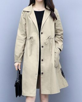 V Neck Buttons Casual Long Sleeve Layered Maxi Coat