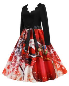 V Neck Christmas Pattern Swing Dress