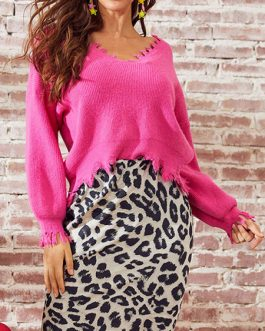 V-Neck Long Sleeves Acrylic Pullovers Sweaters