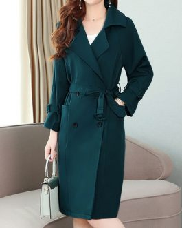 V Neck Long Sleeves Buttons Layered Casual Coat