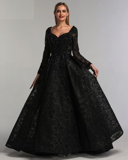 V-Neck Sexy Flowers Beading Long Sleeves Evening Gowns