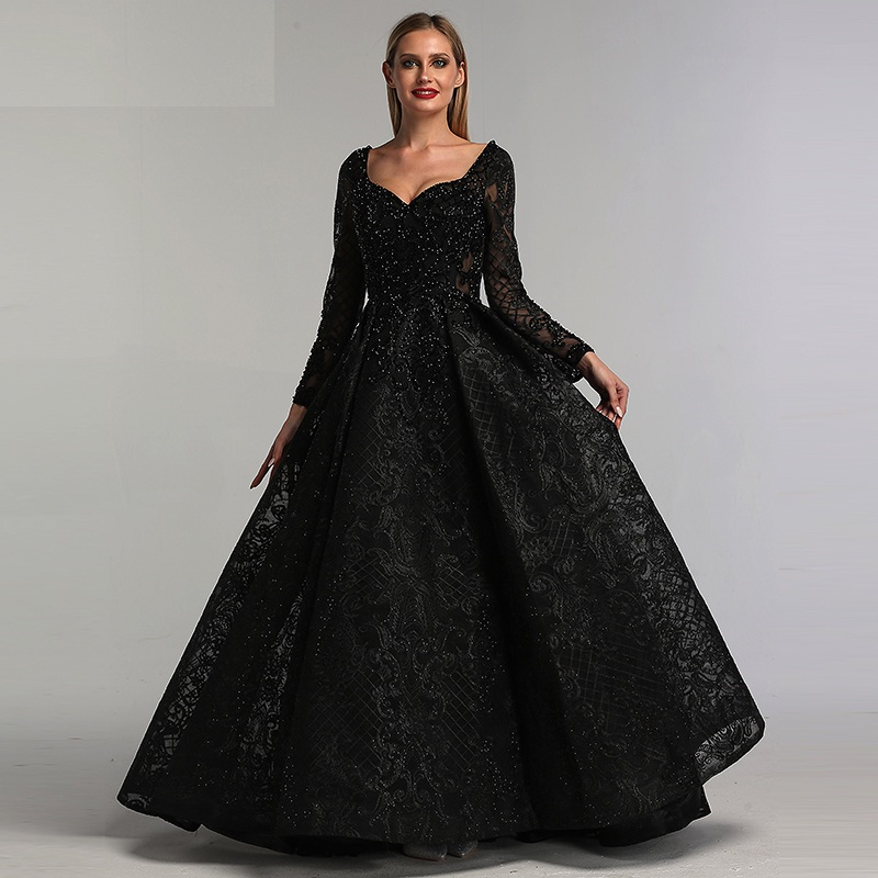 long sleeve evening gowns