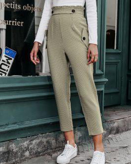 Vintage Button High Waist Zipper Harem Pants