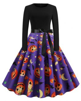 Vintage Printed Jewel Neck Rockabilly Dress