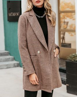 Vintage plaid Elegant office ladies Long sleeve coat
